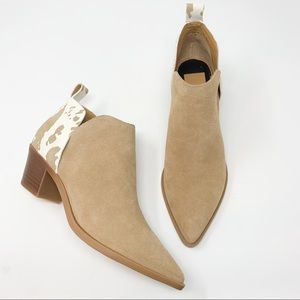 New dolce vita tan booties with cow back point toe